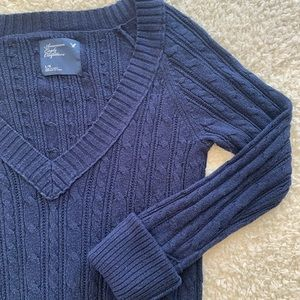 3/$20 Deep V-Neck Navy Cable Knit Sweater Large